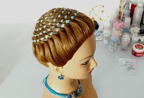 "Прическа ""Корзинка"", ""Улитка"". Коса из 4-х прядей с лентой. Circle braid (4 strand ribbon braid)"