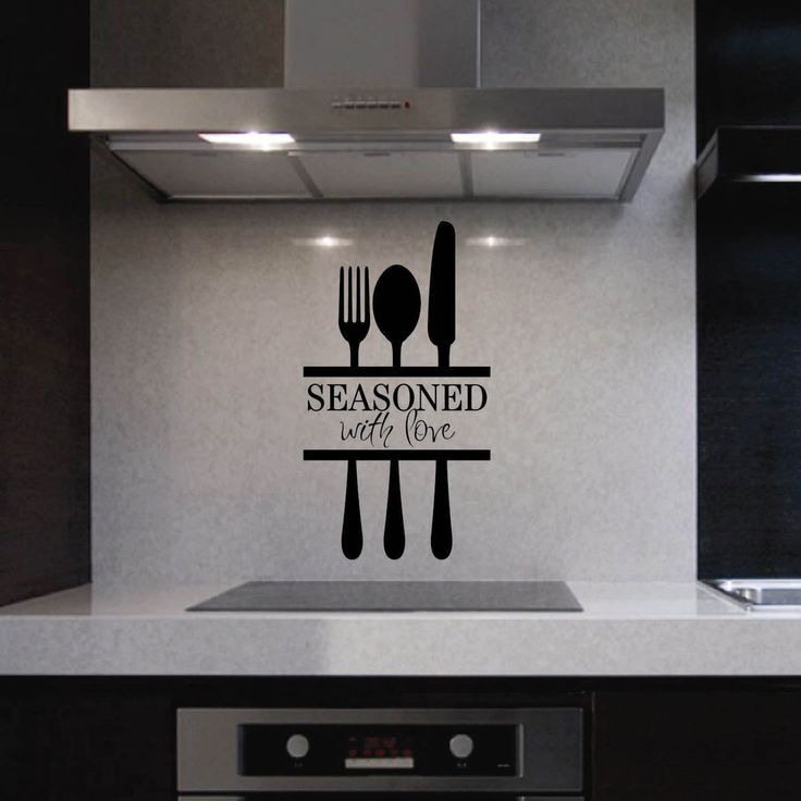 Vinyl Wall Quotes Kitchen Lettering Seasoned with Love Decal Utensils