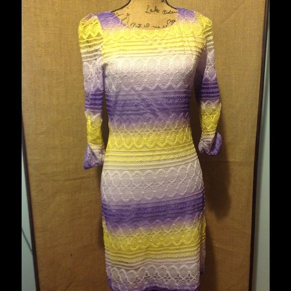 Hello Miss dress Hello Miss dress size large. Purple and yellow lace material with built in slip underneath. The sleeves are see through. Good condition Hello miss Dresses