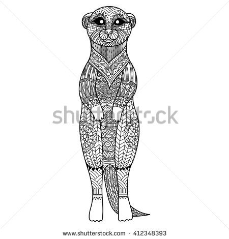 Meerkat standing zentangle art stylize for T - Shirt graphic, poster, coloring book for adult and so on
