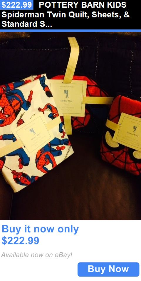 Kids Bedding: Pottery Barn Kids Spiderman Twin Quilt, Sheets, And Standard Sham 5 Pc Set New BUY IT NOW ONLY: $222.99