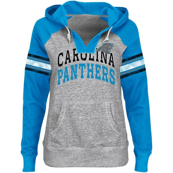Carolina Panthers Ladies Huddle III Pullover Hoodie Steel/Panthers... ($54) ❤ liked on Polyvore featuring tops, hoodies, jackets, shirts, sport, nfl hoodies, sports shirts, hooded pullover sweatshirt, hoodie shirt and hooded sweatshirt