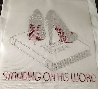 Standing on his word - Bible Christian Stiletto Heels Holy Bible Rhinestone Lord