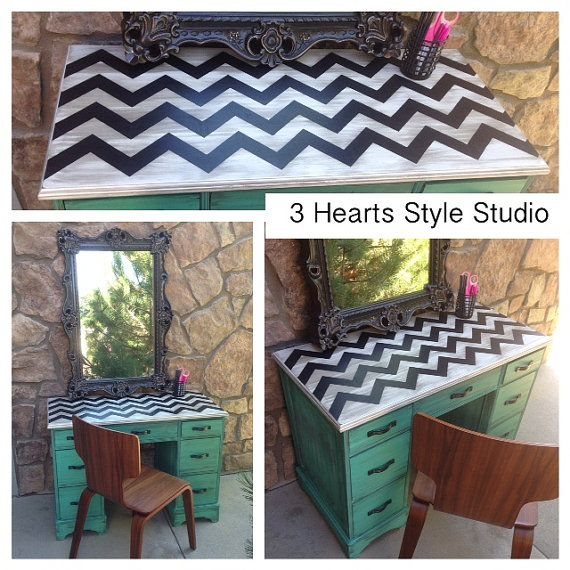 Hey, I found this really awesome Etsy listing at https://www.etsy.com/listing/199475596/turquoise-desk-chevron-furniture-desk