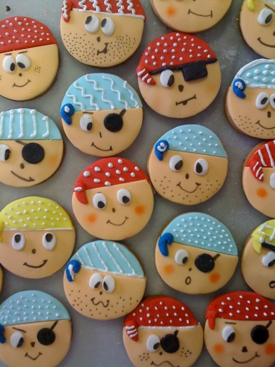 A few different pirate face cookies using a round cutter
