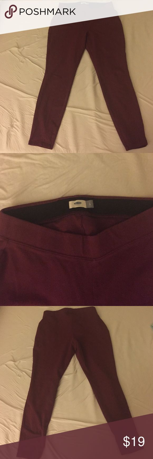 Maroon thick leggings with stretch waist Old Navy thick leggings with stretch waist. Like new. Worn once. Size women's L. Old Navy Pants Leggings