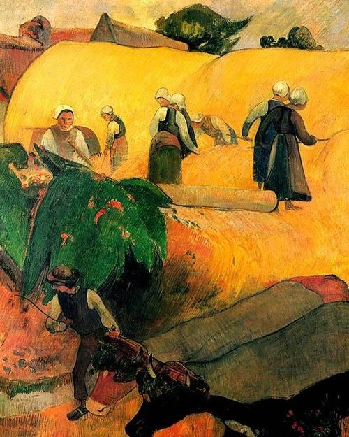 Post and Neo Impressionists: love is your essence by Paul Gauguin (1848-1903) - Harvest in Brittany