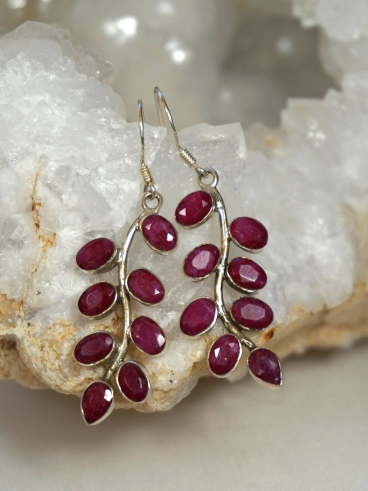 *Ruby and Sterling Earring Set 1 #ruby #earrings #silver