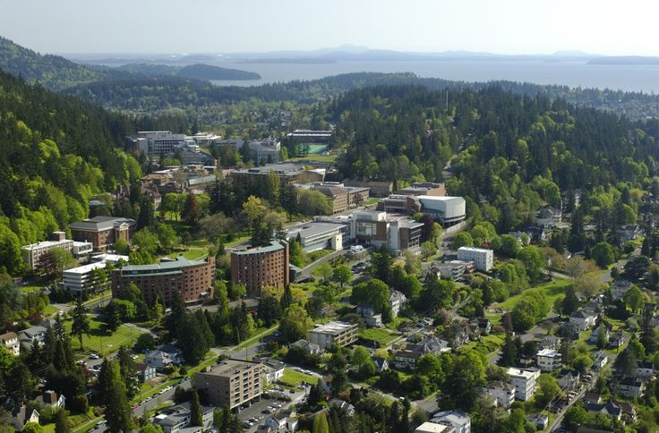 Western Washington University with Bellingham Bay in the background.