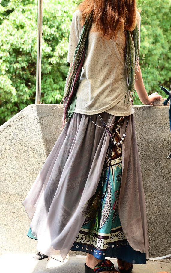 Sari nepalesi cotone chiffon maxi gonna Q1106 di idea2lifestyle