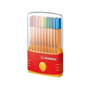 Rotuladores Stabilo Point 88 Parade.  Estuche con 20 rotuladores de colores surtidos.  Muy practico para tenerlos ordenados.