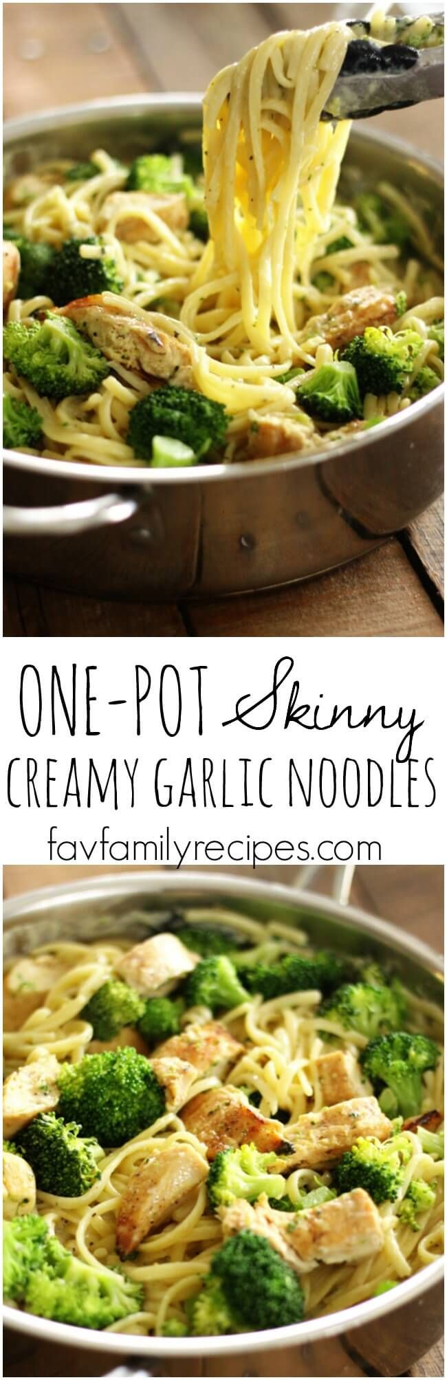These one pot skinny creamy garlic noodles are THE BEST. My kids beg for this! No heavy creams or large amounts of butter, yet they are delicious!