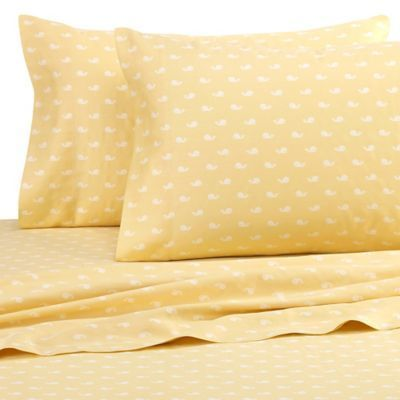 beach hut whales king pillowcases in yellow set of 2