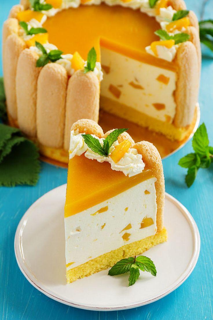 Charlotte de Mango ingredientes: Para el bizcocho: 5 huevos de azúcar 165 g de harina 165g Para la mousse de mango: puré de mango 100 g 6 hojas de... - Paty Montes - Google+