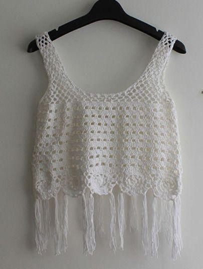 Top crochet flecos tank -blanco-Spanish SheIn(Sheinside)