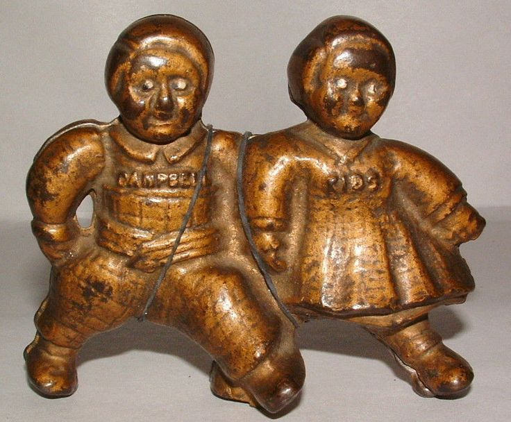 LTD TOY STAMP & 1930'S CAMPBELLS KIDS CAST IRON STILL BANK GREAT CONDITION
