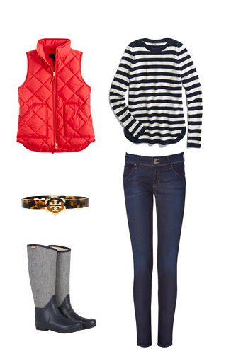 Fall: striped shirts, red vest, jeans, boots