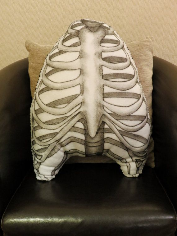 Anatomical Ribcage - Large Hand Painted Cushion. MEASURES APPROX. 53cm x 43cm.