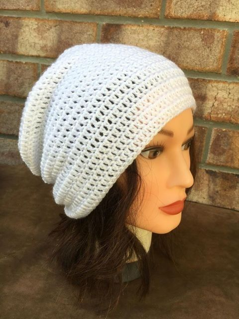 White Crocheted Beanie