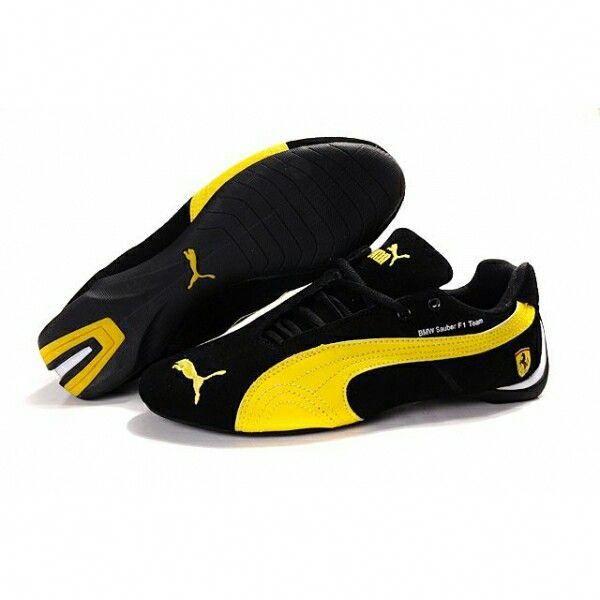 Puma black and yellow Ferrari sneakers | Puma sports shoes ...