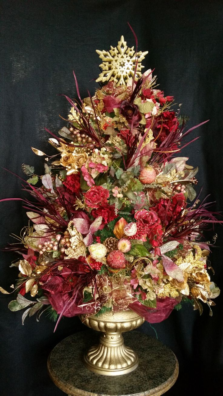 Wow, a piece of Art!  Stunning Lighted Christmas Tree Decorated in Flowers and Sugared Fruits..Amazing Details in Burgandy, Gold and Greens. by DesignsbyHEartWorks on Etsy https://www.etsy.com/listing/202039247/wow-a-piece-of-art-stunning-lighted