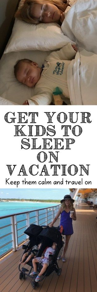 Wondering how to get your kids to sleep on vacation? Here are my tried and true tips for getting toddlers and babies sleeping on vacation. Click through to see how we do it!
