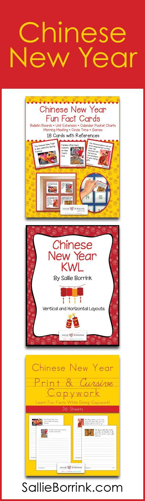 Learn all about Chinese New Year with these fun activities! Your Chinese New Year unit will be full of memorable learning as you explore fun facts with your learners on Fun Fact Cards and with copywork or handwriting. Each product is a great extension to any Chinese New Year unit!
