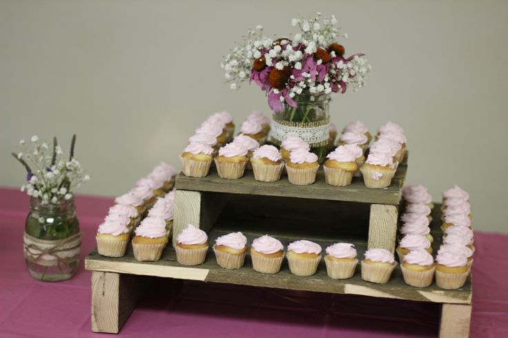 rustic wedding shower pallet cupcake stand cupcakes