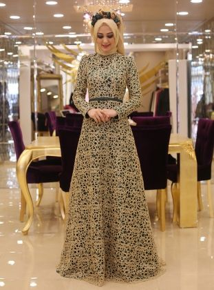 Rana Evening Dress - Emerald - Minel Ask
