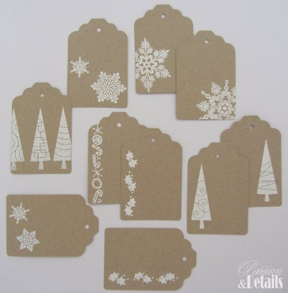 10 xmas tags - craft cardstock and white heat embossing