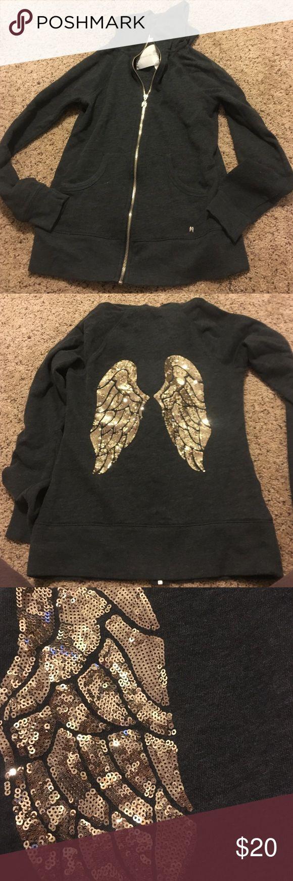 Victoria's Secret soft hoodie Zip up. Sequin angel wings. Dark gray with gold wings Victoria's Secret Tops Sweatshirts & Hoodies