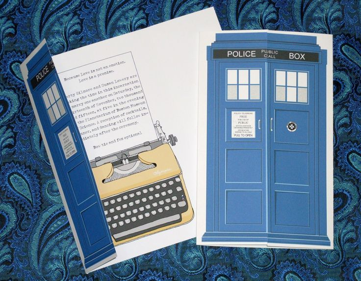 Dr. Who Tardis Blue Gallifreyan Gatefold Invitation, Reply Card, and Save the Date Wedding Suite Sample by MidnightRevels on Etsy https://www.etsy.com/listing/264813006/dr-who-tardis-blue-gallifreyan-gatefold