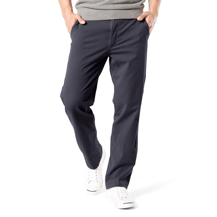 Men's Dockers® Smart 360 Flex Straight-Fit Downtime Khaki Pants D2, Size: 38X30, Dark Blue