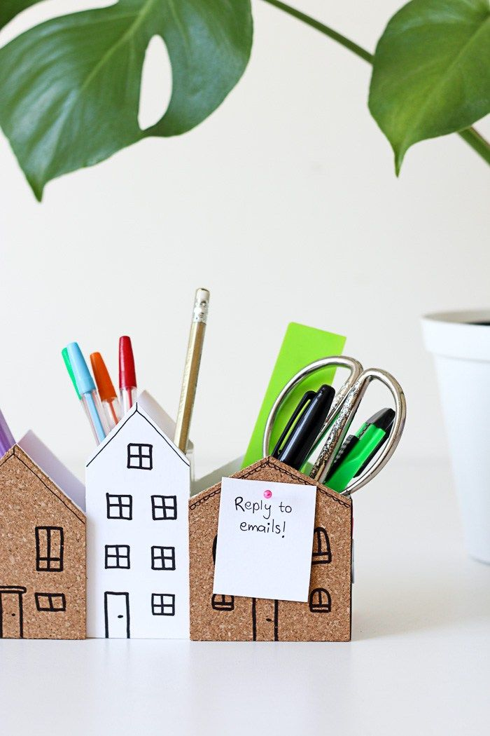 Cute DIY Desk Organiser with cork for notes and magnets to keep paperclips tidy.   www.homeology.co.za