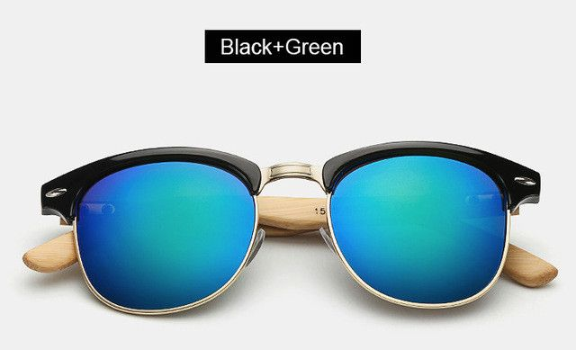 Men's/Women's Vintage Wooden Half Frame UV Sunglasses - 5 colors