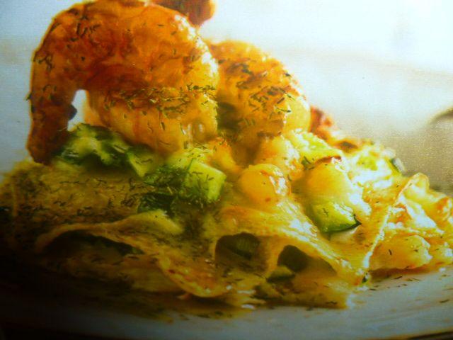 lasagne integrali con gamberi e zucchine