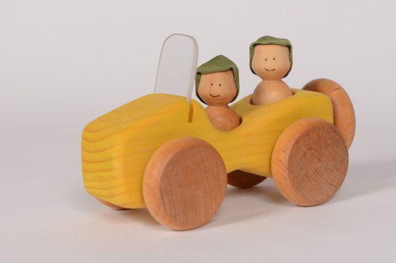 Yellow wooden car, wooden jeep, little wooden car by l'Atelier Cheval de Bois
