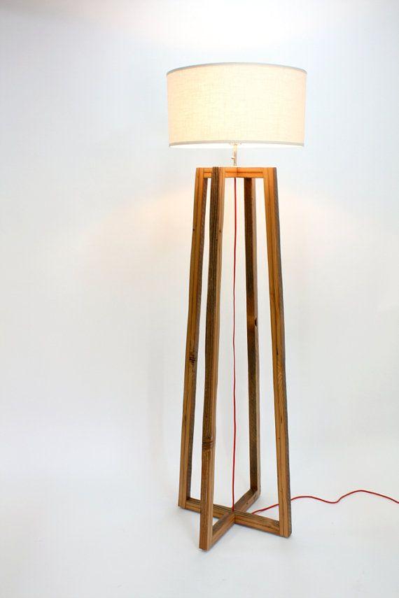 Modern A-frame Floor Lamp- Reclaimed Wood Light- Rustic Modern Lighting-  Wood Frame Lamp- Woven Shade- Living Room Lighting - 25+ Best Ideas About Wooden Floor Lamps On Pinterest Wood Floor