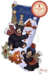 Black Bear Bonfire bucilla stocking kit thumb