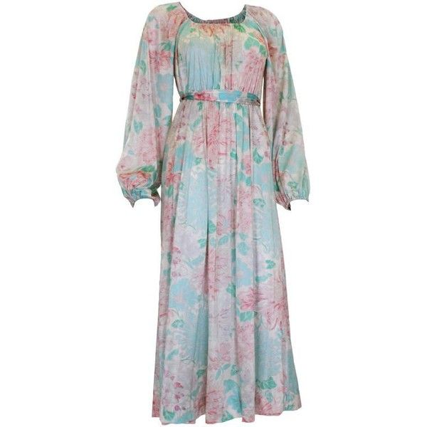 Preowned 1970s Pastel Coloured Floral Print Jersey Dress ($215) ❤ liked on Polyvore featuring dresses, grey, maxi dresses, off shoulder floral dress, off-shoulder dresses, off the shoulder floral dress, floral-print maxi dresses and pastel floral dress