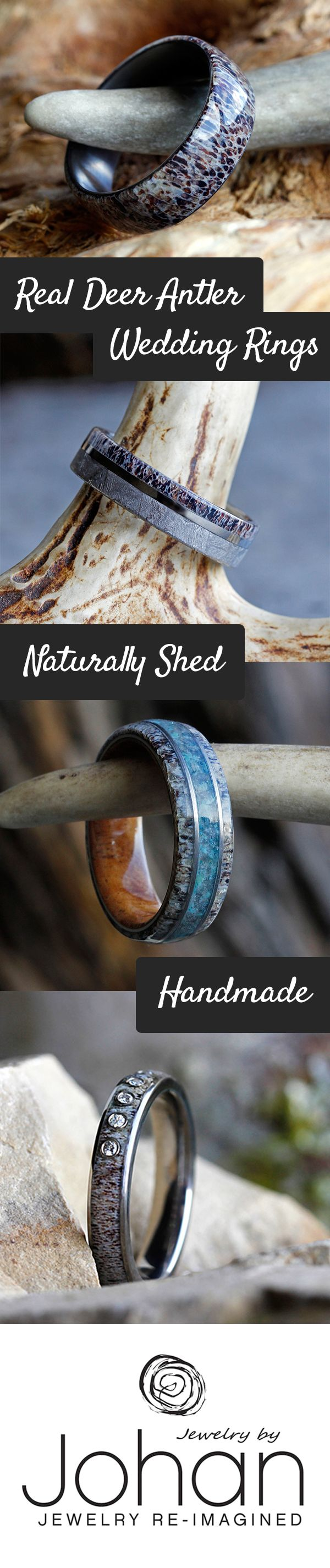 Real Deer Antler Wedding Rings, Wedding Bands, And Antler Engagement Rings  All Handmade