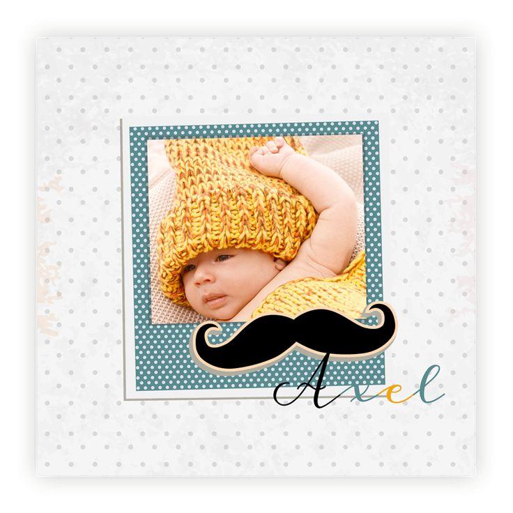 Faire part naissance pas cher  Polaroid hipster avec moustache/photo