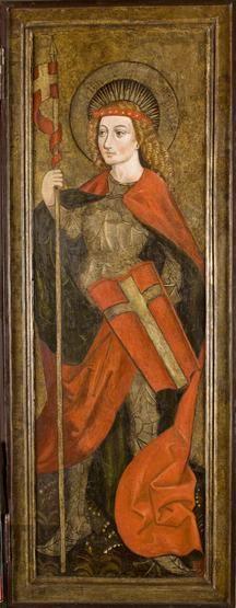 Św. Florian, Mąż Boleści. Skrzydło prawe z retabulum ołtarzowego z kościoła w Moszczenicy Niżnej, ok. 1480