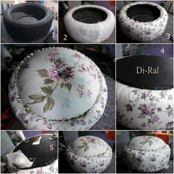 DIY tire ottoman with cushion
