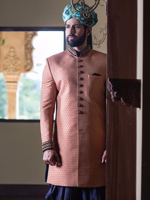 Shop Peach silk indo western online from G3fashion India. Brand - G3, Product code - G3-MIW3013, Price - 11395, Color - Peach, Fabric - Silk,