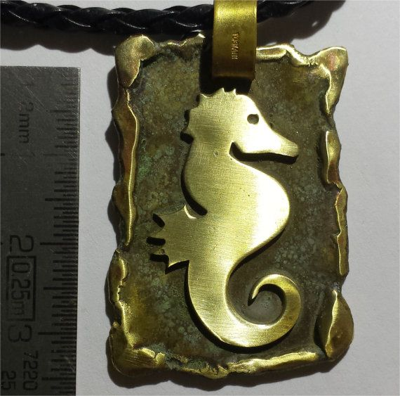 Pendant with brass oxidized   seahorse by Civitarte on Etsy