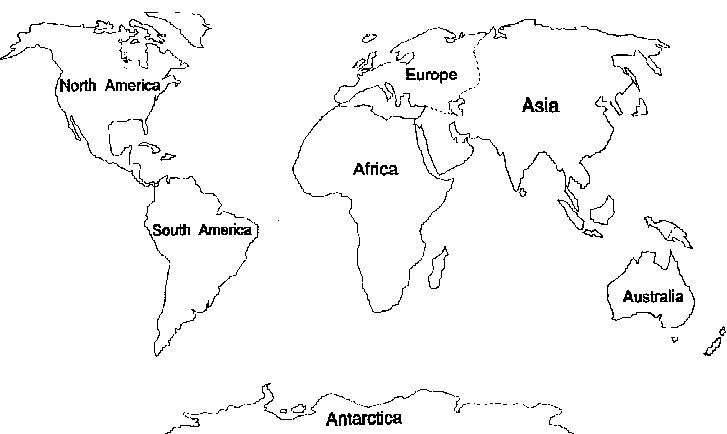 7 Continents Coloring Pages World map printable, World