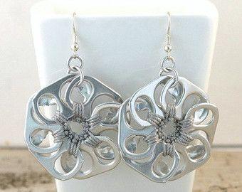 soda tab flower earrings, grey, gray, pop tab earrings, crochet earrings, upcycled earrings, recycled earrings, pull tab earrings