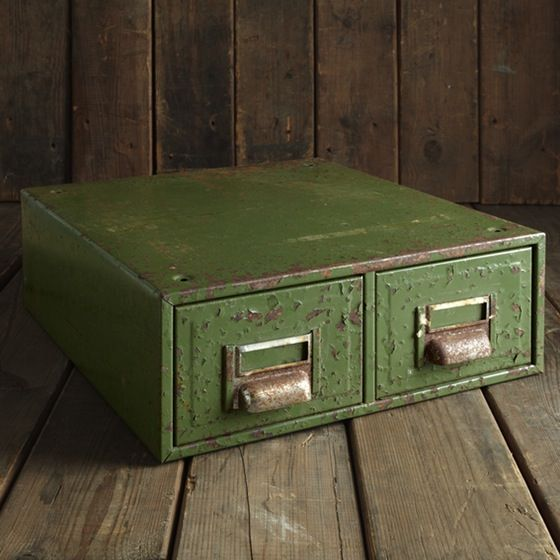 Green Vintage Filing Drawers | Industrial Home Accessories | raspberrymash.co.uk | Warehouse Home Design Magazine