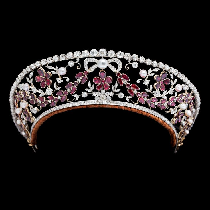 Garnet, Pearl and DIamond Kokoshnik Tiara created in the 1930's by Dragsted, jewellers to the Danish Royal family at the behest of Prince Viggo, Count of Rosenborg as a present for his wife, Princess Eleanor.